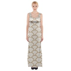 Gold,white,art Deco,vintage,shell Pattern,asian Pattern,elegant,chic,beautiful Maxi Thigh Split Dress