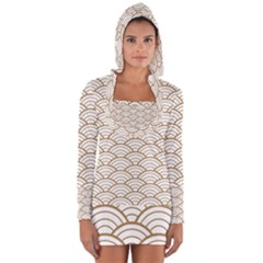 Gold,white,art Deco,vintage,shell Pattern,asian Pattern,elegant,chic,beautiful Long Sleeve Hooded T Shirt