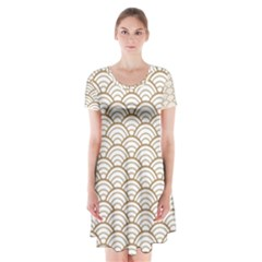 Gold,white,art Deco,vintage,shell Pattern,asian Pattern,elegant,chic,beautiful Short Sleeve V Neck Flare Dress