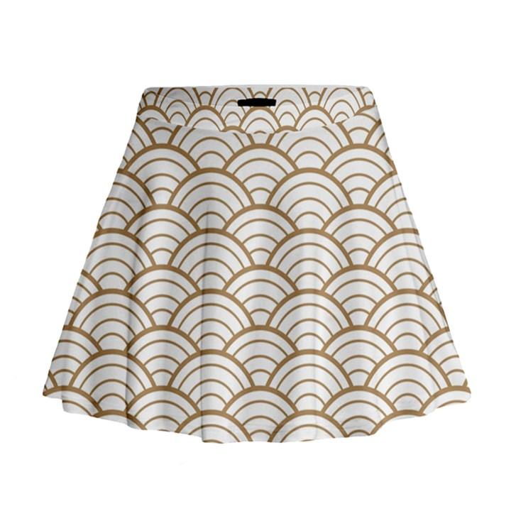 gold,white,art deco,vintage,shell pattern,asian pattern,elegant,chic,beautiful Mini Flare Skirt