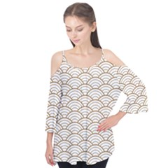 Gold,white,art Deco,vintage,shell Pattern,asian Pattern,elegant,chic,beautiful Flutter Tees