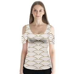 Gold,white,art Deco,vintage,shell Pattern,asian Pattern,elegant,chic,beautiful Butterfly Sleeve Cutout Tee