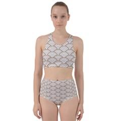 Gold,white,art Deco,vintage,shell Pattern,asian Pattern,elegant,chic,beautiful Racer Back Bikini Set