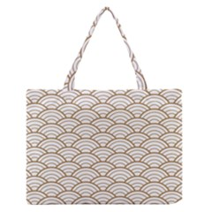 Gold,white,art Deco,vintage,shell Pattern,asian Pattern,elegant,chic,beautiful Zipper Medium Tote Bag