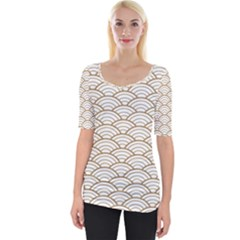 Gold,white,art Deco,vintage,shell Pattern,asian Pattern,elegant,chic,beautiful Wide Neckline Tee