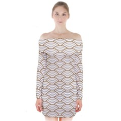 Gold,white,art Deco,vintage,shell Pattern,asian Pattern,elegant,chic,beautiful Long Sleeve Off Shoulder Dress