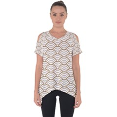 Gold,white,art Deco,vintage,shell Pattern,asian Pattern,elegant,chic,beautiful Cut Out Side Drop Tee