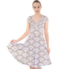 Gold,white,art Deco,vintage,shell Pattern,asian Pattern,elegant,chic,beautiful Cap Sleeve Front Wrap Midi Dress