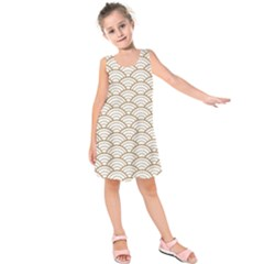 Gold,white,art Deco,vintage,shell Pattern,asian Pattern,elegant,chic,beautiful Kids  Sleeveless Dress
