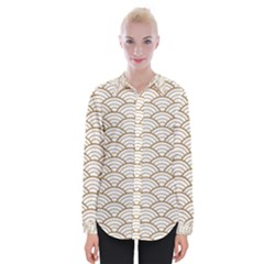 Gold,white,art Deco,vintage,shell Pattern,asian Pattern,elegant,chic,beautiful Womens Long Sleeve Shirt
