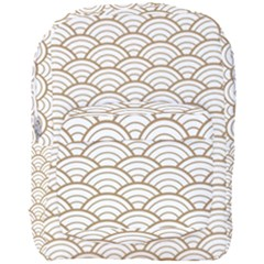 Gold,white,art Deco,vintage,shell Pattern,asian Pattern,elegant,chic,beautiful Full Print Backpack