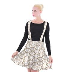 Gold,white,art Deco,vintage,shell Pattern,asian Pattern,elegant,chic,beautiful Suspender Skater Skirt