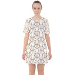 Gold,white,art Deco,vintage,shell Pattern,asian Pattern,elegant,chic,beautiful Sixties Short Sleeve Mini Dress