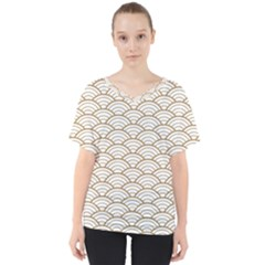 Gold,white,art Deco,vintage,shell Pattern,asian Pattern,elegant,chic,beautiful V Neck Dolman Drape Top