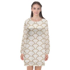 Gold,white,art Deco,vintage,shell Pattern,asian Pattern,elegant,chic,beautiful Long Sleeve Chiffon Shift Dress