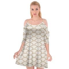 Gold,white,art Deco,vintage,shell Pattern,asian Pattern,elegant,chic,beautiful Cutout Spaghetti Strap Chiffon Dress