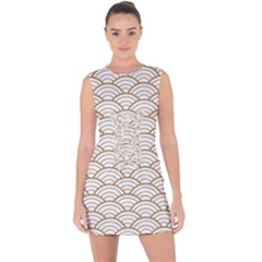 Gold,white,art Deco,vintage,shell Pattern,asian Pattern,elegant,chic,beautiful Lace Up Front Bodycon Dress