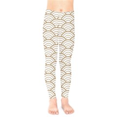 Gold,white,art Deco,vintage,shell Pattern,asian Pattern,elegant,chic,beautiful Kids  Legging