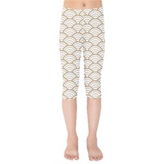 Gold,white,art Deco,vintage,shell Pattern,asian Pattern,elegant,chic,beautiful Kids  Capri Leggings