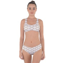 Gold,white,art Deco,vintage,shell Pattern,asian Pattern,elegant,chic,beautiful Criss Cross Bikini Set