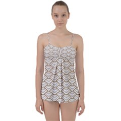 Gold,white,art Deco,vintage,shell Pattern,asian Pattern,elegant,chic,beautiful Babydoll Tankini Set