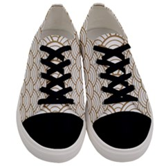 Gold,white,art Deco,vintage,shell Pattern,asian Pattern,elegant,chic,beautiful Men s Low Top Canvas Sneakers