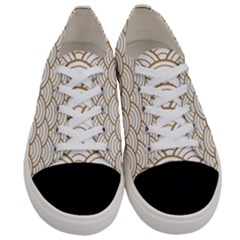 Gold,white,art Deco,vintage,shell Pattern,asian Pattern,elegant,chic,beautiful Women s Low Top Canvas Sneakers
