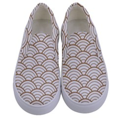Gold,white,art Deco,vintage,shell Pattern,asian Pattern,elegant,chic,beautiful Kids  Canvas Slip Ons