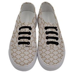 Gold,white,art Deco,vintage,shell Pattern,asian Pattern,elegant,chic,beautiful Men s Classic Low Top Sneakers