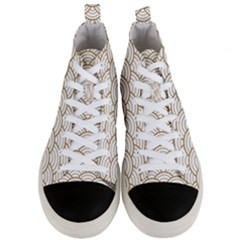 Gold,white,art Deco,vintage,shell Pattern,asian Pattern,elegant,chic,beautiful Men s Mid Top Canvas Sneakers