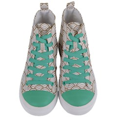 Gold,white,art Deco,vintage,shell Pattern,asian Pattern,elegant,chic,beautiful Women s Mid Top Canvas Sneakers