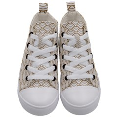 Gold,white,art Deco,vintage,shell Pattern,asian Pattern,elegant,chic,beautiful Kid s Mid Top Canvas Sneakers