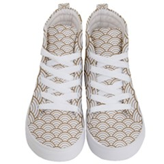 Gold,white,art Deco,vintage,shell Pattern,asian Pattern,elegant,chic,beautiful Kid s Hi Top Skate Sneakers