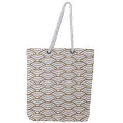 Gold,white,art Deco,vintage,shell Pattern,asian Pattern,elegant,chic,beautiful Full Print Rope Handle Tote (large)
