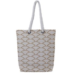 Gold,white,art Deco,vintage,shell Pattern,asian Pattern,elegant,chic,beautiful Full Print Rope Handle Tote (small)