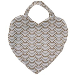 Gold,white,art Deco,vintage,shell Pattern,asian Pattern,elegant,chic,beautiful Giant Heart Shaped Tote