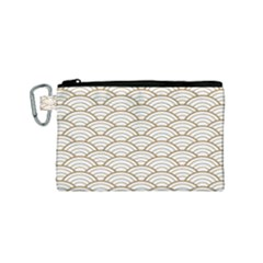 Gold,white,art Deco,vintage,shell Pattern,asian Pattern,elegant,chic,beautiful Canvas Cosmetic Bag (small)