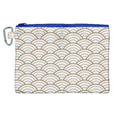 Gold,white,art Deco,vintage,shell Pattern,asian Pattern,elegant,chic,beautiful Canvas Cosmetic Bag (xl)