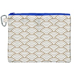 Gold,white,art Deco,vintage,shell Pattern,asian Pattern,elegant,chic,beautiful Canvas Cosmetic Bag (xxl)