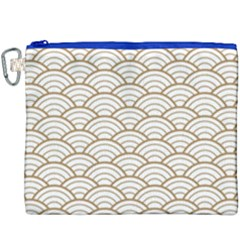 Gold,white,art Deco,vintage,shell Pattern,asian Pattern,elegant,chic,beautiful Canvas Cosmetic Bag (xxxl)