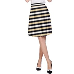 Black And Gold Stripes A Line Skirt