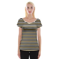 Black And Gold Stripes Cap Sleeve Tops