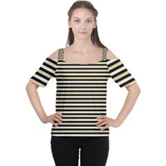 Black And Gold Stripes Cutout Shoulder Tee