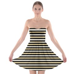 Black And Gold Stripes Strapless Bra Top Dress