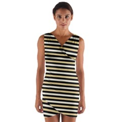 Black And Gold Stripes Wrap Front Bodycon Dress
