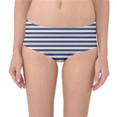 Royal Gold Classic Stripes Mid Waist Bikini Bottoms