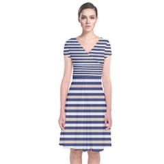 Royal Gold Classic Stripes Short Sleeve Front Wrap Dress