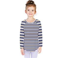 Royal Gold Classic Stripes Kids  Long Sleeve Tee