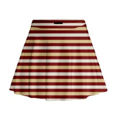 Gold And Wine Mini Flare Skirt