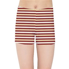 Gold And Wine Kids Sports Shorts
